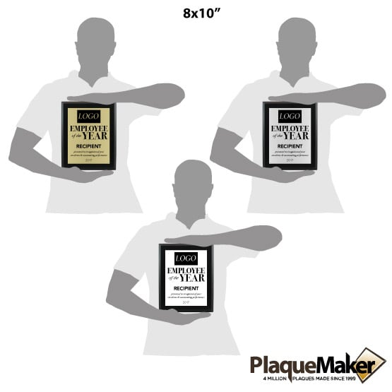 Employee of the Year Award Plaques - Style 1 Size Guide