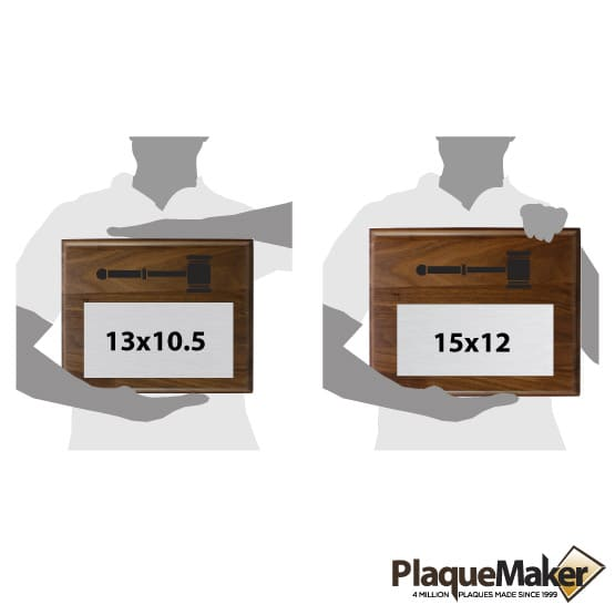 Gavel Plaques Size Chart