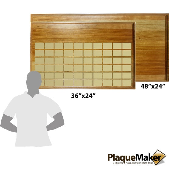 Lobby Perpetual Plaques on Solid Cherry Sizes