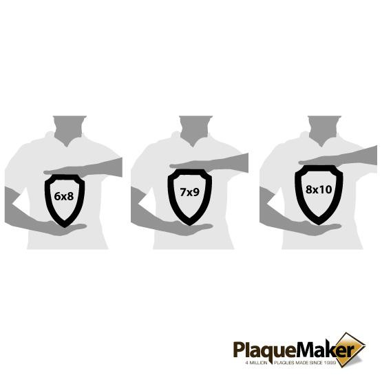 Shield Plaque Size Guide