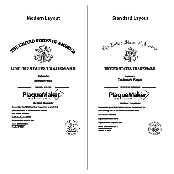 Trademark Plaques Size and Layout Guide