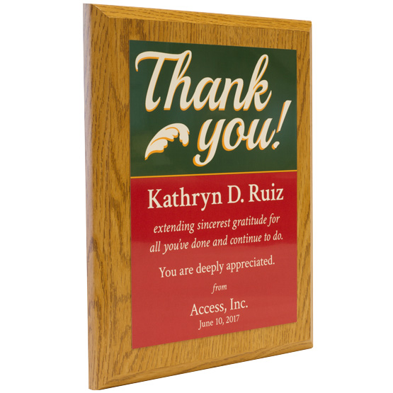 thank you plaque