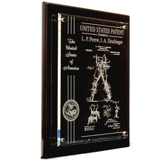 Glass Patent Plaques Black
