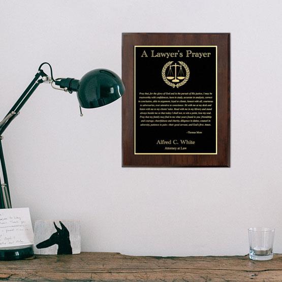 Lawyer's Prayer Laser Metal Plaque