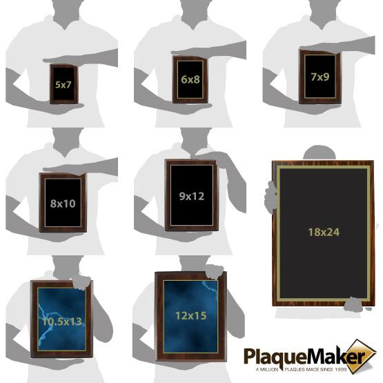 Laser Engraved Plaques Size Chart