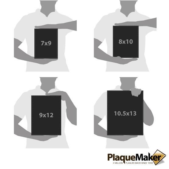 Black Leather Plaque Size Comparison