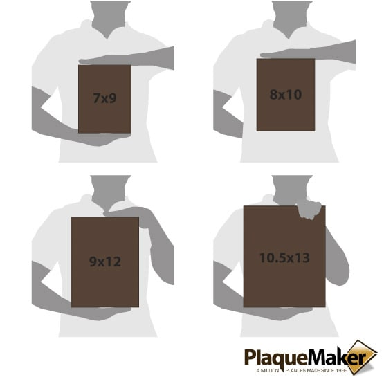 Dark Brown Leather Plaque Size Comparison