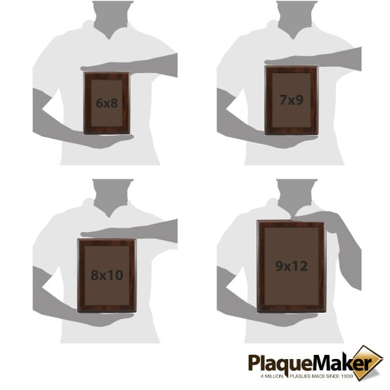 Dark Brown Leatherette Plate Size Guide