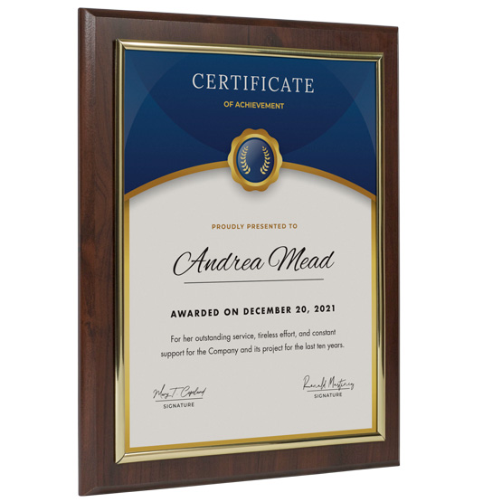 Wood Certificate Frame