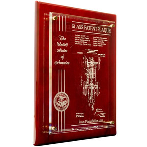 Glass Patent Plaques Rosewood