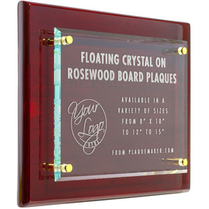 Rosewood Floating Glass Plaque