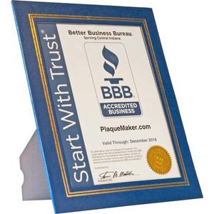 blue vinyl certificate presentation