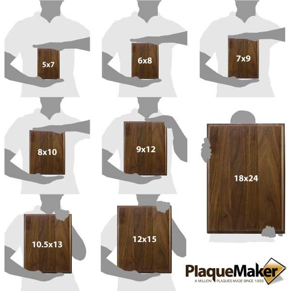 Color Printed Walnut Plaque Sizes