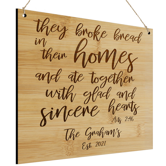 Acts 2:46 Bible Verse Bamboo Sign