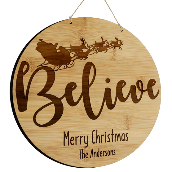 Believe Round Bamboo Sign
