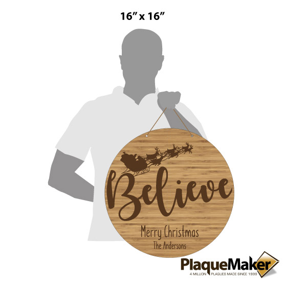 Believe Round Bamboo Sign Size