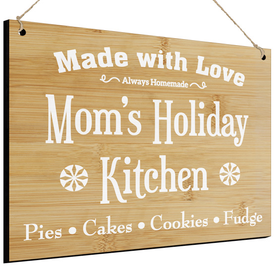 Mom's Kitchen Bamboo Sign