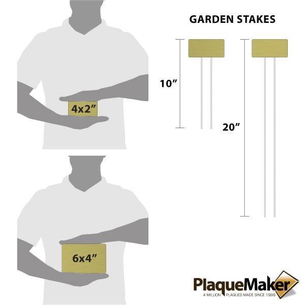 Brass Garden Markers Size Chart