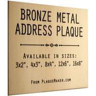 Bronze Metal Address Sign