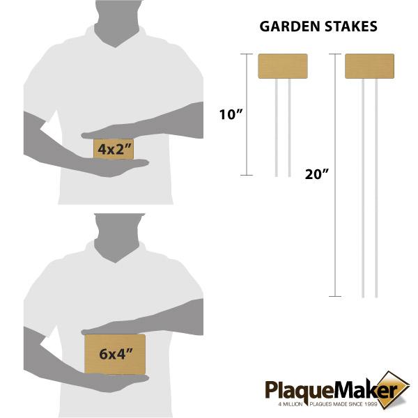 Bronze Garden Markers Size Chart