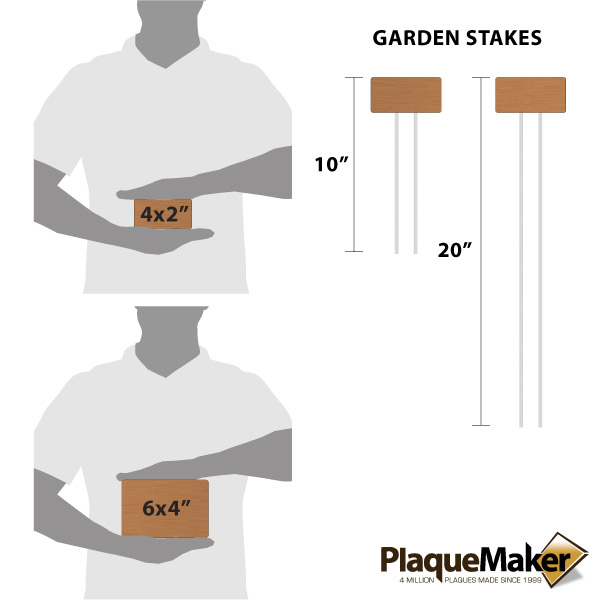 Copper Garden Markers Size Chart