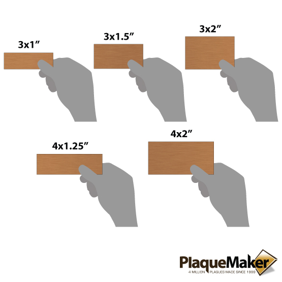 copper wall tag sizes