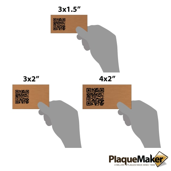 Copper QR Tag Sizes