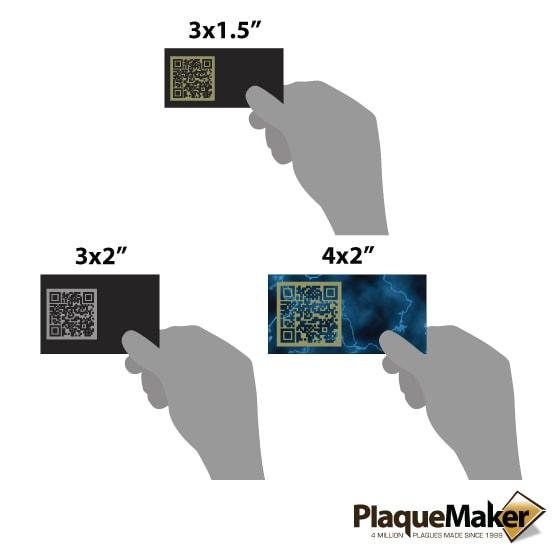Laser Metal QR Code Tag Sizes