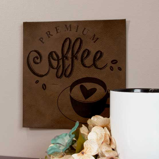 Faux Leather Dark Brown Sign