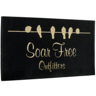 Faux Leather Black with Gold Labels