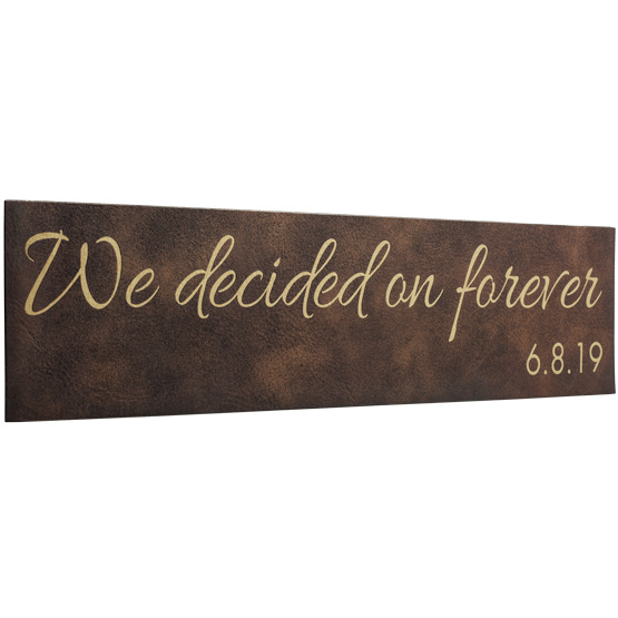 Faux Leather Rustic with Gold Sign