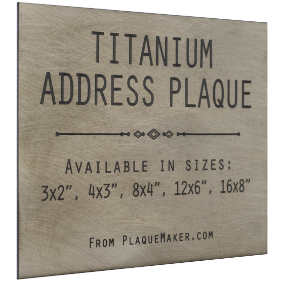 Titanium Address Sign